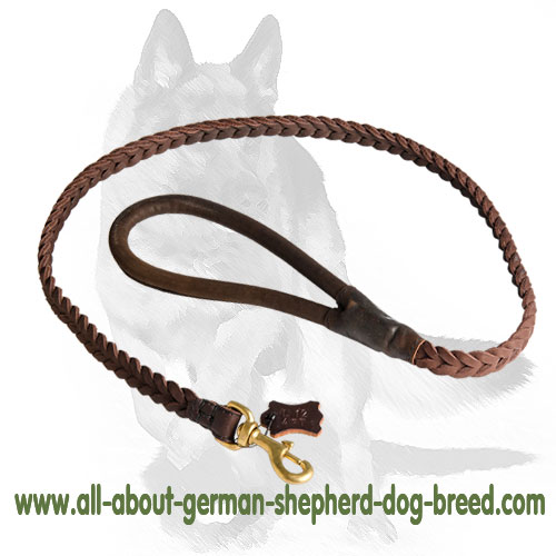 Comfy leather dog leash with brass snap hook