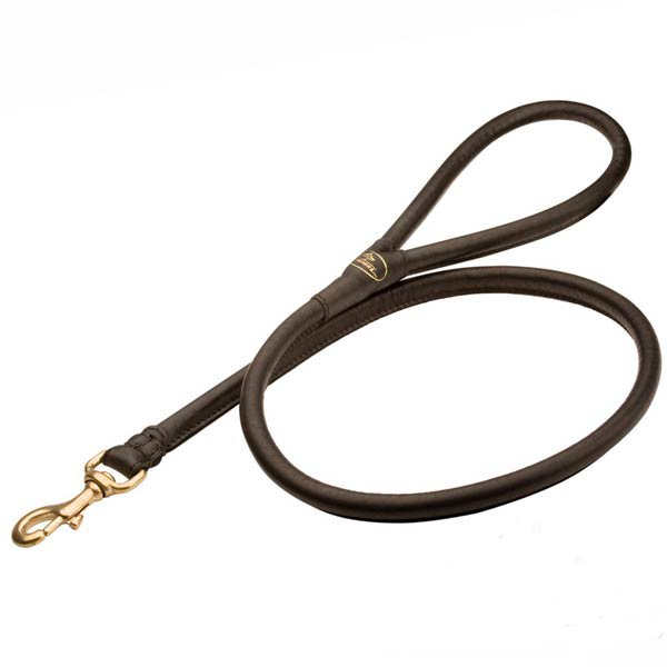 Extra strong round leather dog leash