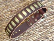 Gorgeous Wide Leather Dog Collar With Plates-Designer COLLAR