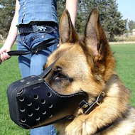 Leather German Shepherd Muzzle For Agitation Training
