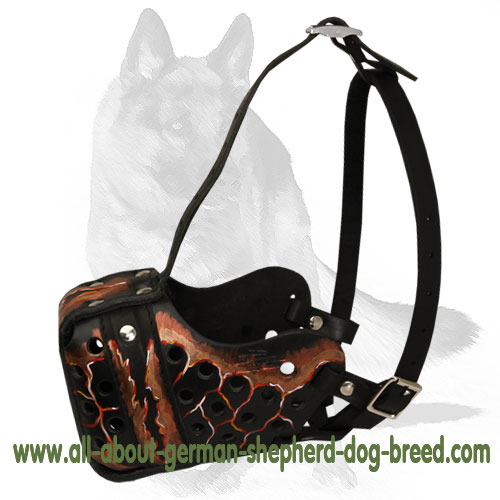 Well-ventilated leather dog muzzle for attack training
