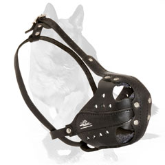 Leather muzzle with adjustable straps