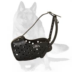Agitation training muzzle with strong leather basket