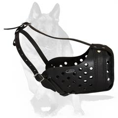 Well ventilated leather muzzle