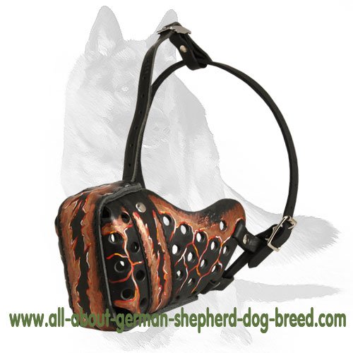 Handpainted leather dog muzzle with soft nose padding