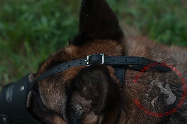 Leather dog muzzle for German Shepherd with sturdy rust-proof fittings