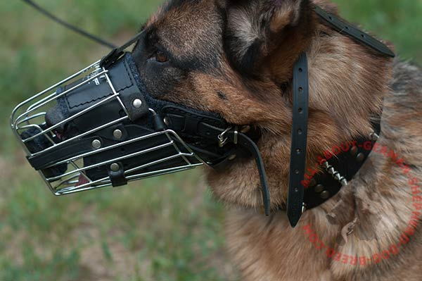 Metal canine muzzle for German Shepherd with soft felt padding